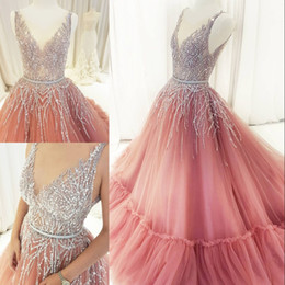 Wholesale Vintage Sparkly Dress - Sparkly Sequins Ball Gown Prom Dress Sheer V-Neck Beaded Sleeveless Evening Dress Dubai Gorgeous Fluffy Tulle A-Line Party Dress Evening Gow