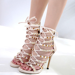 ivory satin wedding sandals Promo Codes - Luxury ivory rhinestone rivets lace up T strappy high heels wedding shoes women designer sandals size 35 to 40