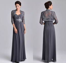 Wholesale Vintage Grey Mother Dress - Elegant Chiffon A Line Evening Dresses Beaded Crystals Grey Mother Of The Bride Groom Dresses with Lace Jacket Long Floor Length