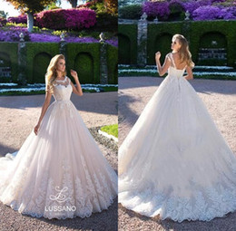 Wholesale Long Dress Skirts For Wedding - Country Lace Wedding Dresses 2018 Sheer Crew Neck Cap Sleeves A Line Tulle Bridal Gowns For Garden Corset Back Long Sweep Train