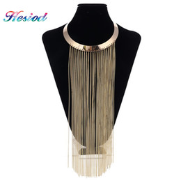 Wholesale Tassel Fringe Necklace - whole saleGold Silver Gun Black Long Chain Tassel Necklaces & Pendants Metal Fringe Statement Necklace Women Collares Jewelry Gifts Party