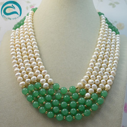 Grüne jade perlenkette online-Einzigartiger Perlen-Schmucksache-Speicher 5w hochwertige weiße Frischwasserperlen-Grünjade-Halskette AA7-8MM Art- und Weisedamen-Schmucksachen