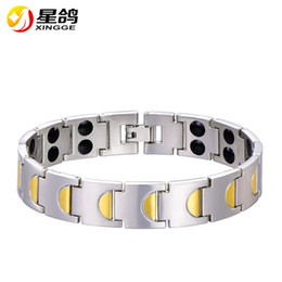 Wholesale Negative Ion Bracelet Health - High quality two designs link chain Health Energy Bracelets For Men with magnetic negative ion jewelry wholesale