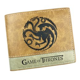 Wholesale Square Games - Game of Thrones Leather Short Purse of House of Stark Cool Anime Wallet Pocket Colorful Card Holder Money Bag