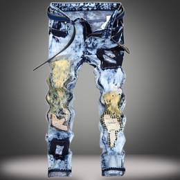 2019 blue jeans de piedra MORUANCLE Diseñador Mens Ripped Patchwork Jeans Joggers Moda Hombre Pantalones de mezclilla azul Impreso angustiado Stone Washed Pantalones blue jeans de piedra baratos