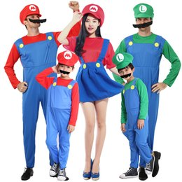2020 mario brothers costumes d'halloween  Halloween Cosplay Costumes Super Mario Luigi Frères Fantaisie Dress Up Party Mignon Costume Pour Les Enfants Adultes C5283 mario brothers costumes d'halloween  pas cher