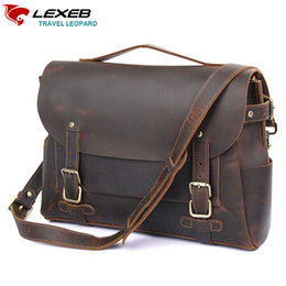 f91105aef69f LEXEB Full Grain Crazy Horse Leather Satchel Briefcases For Men 14 Inch  Laptop Bag Vintage Top Quality Messenger Bags