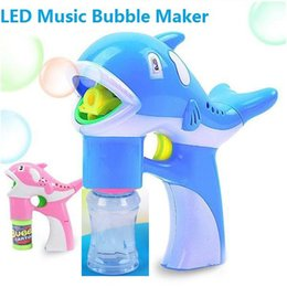 Wholesale machine gun cartoon - Hot Bubble Gun Toys LED Dolphin Music Lamp Light Bubble Machine Cute Cartoon Animal Automatic Soap Water Blowing Toys