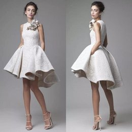 Wholesale Krikor Jabotian Short Wedding Gown - Vintage Lace Wedding Dress Krikor Jabotian Jewel Sleeveless High Low Wedding Dresses Short A-Line Beach Bridal Gowns With Flower