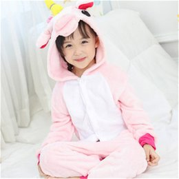 Wholesale sexy child clothing - Dropshipping For Girls Boys Winter Children Casual Pajama Set Flannel Animal Cartoon Kids Clothes Cute Pyjama Hooded Sleepwear