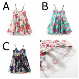 Wholesale free baby slings - INS Summer New Baby Girls Full Floral Print Tutu Lace Dresses Kids Lace dress Fashion Sling Dress Summer Beach dress 3colors choose free
