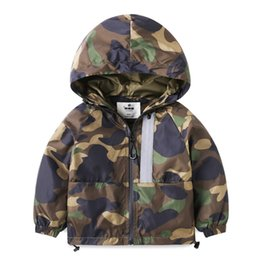 Wholesale Boys Rain Jacket - Baby Boy Girls Hooded Jackets Rain Camouflage Outdoor Clothes Zipper Windbreaker Long Sleeve Winter Outdoor Coats