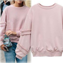 Argentina Nueva primavera otoño mujer sudadera manga larga de la señora volantes Tops sudaderas rosa C3276 cheap ruffled sleeve sweatshirt Suministro