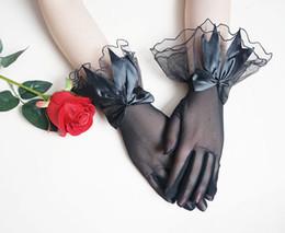 Blanco / negro corto simple boda nupcial guantes con arco barato de alta calidad de tul desde fabricantes