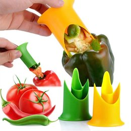 Wholesale cooked tomato - Pepper Corer Cutter Slicer Utensil Gadget Kitchen Accessories Cooking Tools Creative Tomato Fruit Vegetable Tools NNA336