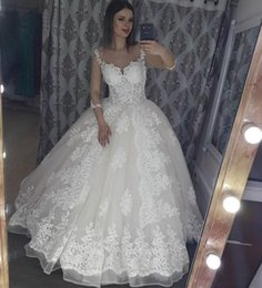 Wholesale Cheap Puffs - Modest Sheer 3 4 Long Sleeve Vintage Wedding Dress Puff Tulle Lace Ball Gown Floor-Length Vestido De Novia 2018 Arabic Cheap Wedding Dresses