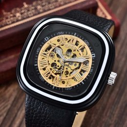 Wholesale Mechanical Watches Skeleton Square - GOER Men Fashion Sports Mechanical Watches PU Leather Strap Square Automatic Mechanical Skeleton Wrist Watches Relogio Masculino