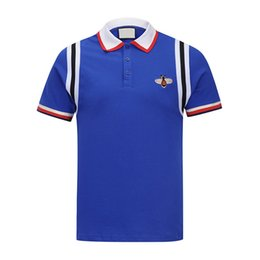 Wholesale Asian Fashion Designers - Italy fashion designer 2018 Brand New Spring Summer for men polo tees shirts casual polos t shirts Embroidery polo shirt Asian Size 3XL