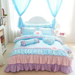 Wholesale Twin Size Ruffle Bedding - 4 3pcs 100% Cotton korean ruffles kids girls single Bedding set king queen twin size bedskirt set duvet cover decorative pillow
