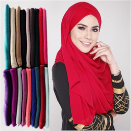 Wholesale Hijab Selling - 78 Colors Muslim Women Hijab Scarves Hot Selling High Quality Solid Color Ethnic Pearl Chiffon Bubble Scarf CCA9235 12pcs