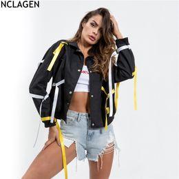 84cd12fdcd29d NCLAGEN 2018 Women Autumn Black Street Frock Coat Long Sleeve Basic Loose  Band Jacket Crop Top Button Outerwear Casual Overcoat