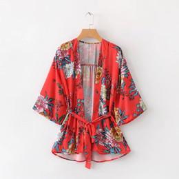 Argentina 2018 boho chic estampado floral largo de la playa camisa de kimono mujer casual flare manga del verano bohemio capa Tops femme blusas N258 Suministro