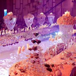 Cristais de peça central on-line-Suporte de flor Centerpiece da tabela de 80cm alto candelabro de cristal de 5 séries com costas dos grânulos
