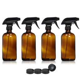 Wholesale Empty Glass Aromatherapy Bottles - 4pcs Large 16 Oz 500ml Empty Amber Glass Spray Bottle Containers w  black trigger spray for essential oils cleaning aromatherapy
