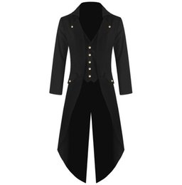 ciabatte Sconti YJSFG HOUSE New Mens Tuxedo Cappotto Steampunk Vintage Fracotto Giacca Gothic Frock Coat Top Giacca a vento Diserbo X-Long Outwear S18101803