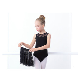 Wholesale Wear Ballet Women - Lace black sleeveless ballet leotard with skirt for girls children ballet trainning wear ballet dance wear for class