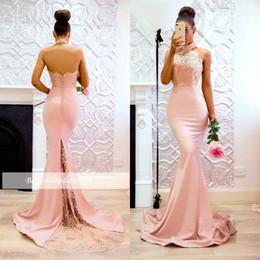b31aea5c508b1 light green maternity bridesmaid dress Coupons - Modern Mermaid Pink High  Neck Prom Dresses 2019 Open