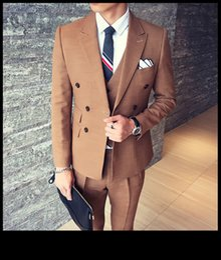 Wholesale Tuxedo Suits Tailored - Men Suits Blazer Khaki Double Breasted Latest Designs Business Fashion Wedding Suit Tailored Tuxedo Terno Masculi 3 Pieces Jacket+Pants+Vest