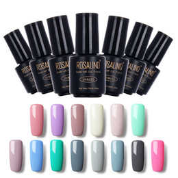 Wholesale Long Red Nails - ROSALIND Gel Nail Polish Nail 7ML Pure Color 58 Colors Black Bottle Soak-Off UV LED Long-lasting Nails Gel Polish Lacquer