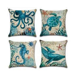 Wholesale Lighted Horse - Sea Turtle Printed Cotton Linen Cushion Cover Marine Ocean Sea Horse Home Decor Pillowcase Octopus Sofa Cushion Case 0711091
