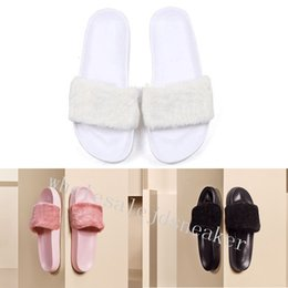 Wholesale Cheap Black Sandals - With Box & Dustbag 2018 cheap New Rihanna Leadcat Fenty Color Slipper Faux Fur Burgundy Slide Slippers Ladies Indoor Sandals flip flop