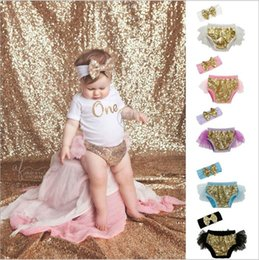 Wholesale Baby Diaper Cover Tutu - Girls Bow Headbands Sequines Bloomers Set Baby Ruffled Diaper Covers Net Yarn Hairband Kids Cotton Princess Shorts Boutique Underwear B3796