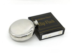 Wholesale Wholesale Alcohol - 5oz Mini Round Stainless Steel Hip Flask alcohol pocket wine flask party supplies flask