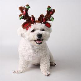 ornamenti illuminati all'aperto Sconti Hairpin Pet Supply Merry Christmas Cane Cappello Cat Ornaments Lampadina Antler Head Hoop Outdoors Fascia per capelli 14gy gg