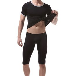 Wholesale sexy tracksuit men - Sexy Super Thin Soft Men's Sportswear Summer Short Sleeve T-shirt Shorts Breathable Stretch Tight Tracksuits for Men Fitness