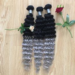 rizado cabello gris Rebajas Extensiones de cabello de onda gruesa Ombre indio gris plateado # 1B Gris Dos paquetes de pelo de Ombre 3Pcs / lot tejido de pelo ondulado profundo rizado