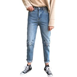 Wholesale Cheap Women Jeans Pants - B2368 Spring autumn 2018 new Korean version women retro high waist loose and thin embroidered cat jeans student cheap wholesale