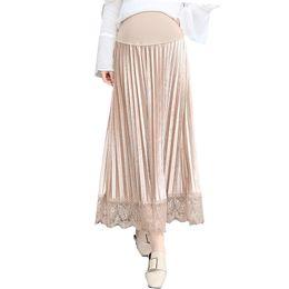 Las mujeres de maternidad embarazadas plisada terciopelo Midi Skirt embarazo 2018 Spring Chic encaje Patchwork de cintura alta faldas de soporte de vientres Bottoms desde fabricantes