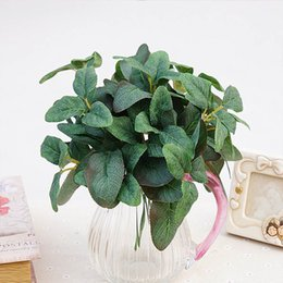 Wholesale Bonsai Wall - Artificial Plant Green Garden Leaves Fake Plants Wall Small Bonsai Silk Leaf Bouquet for Home Decoration