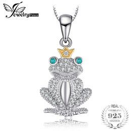 Wholesale Russian Silver Jewelry - JewelryPalace Frog Modeling 0.1ct Nano Russian Simulated Emeralds Crown Pendant Necklaces Chain 45cm 925 Sterling Silver Jewelry