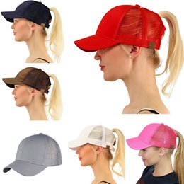 Wholesale pony fashion - Women Girls CC Ponytail Baseball Caps Fashion Brand Net Matching Sunshade Back Hole Basketball Hats HipHop Street Hats Pony Tail Visor
