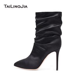e3a48f34df5 2019 botas de noche negras Botas blancas para mujeres de tacón alto Slouch  Boots Botines de