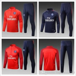 Wholesale Tight Red Mens Shorts - 17 18 Survetement football France Paris short sleeve training kits Maillot de foot mens tracksuits tight pants sport suit soccer jersey sets