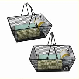 Wholesale black wire storage - Black Cosmetics Storage Baskets Durable Hollowed Out Design Skep With Handle Iron Wire Mesh Shopping Basket Creative 30jh BB