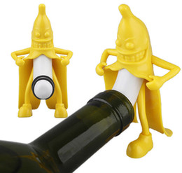 Wholesale Cute Plugs - Wine Bottle Stopper Sealed Cute Banana Shape Wine Plug Corks Kitchen Home Party Bar Tools DDA145