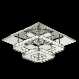 techo de madera moderno Rebajas LED de techo de cristal moderna luces cuadradas accesorio para montaje en superficie de la lámpara de cristal del techo Pasillo Pasillo de luz de la lámpara de techo de luz